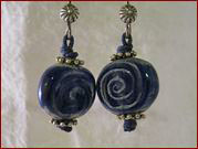 Blue Raku Disc Earrings
