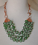 Sea Green Knotted Recycled Glass Necklace