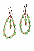 Green and Copper Glass earrings