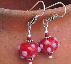 Red Bumpy Lampworked earrings
