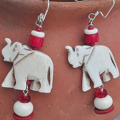 Red and Creme Bone Elephant earrings