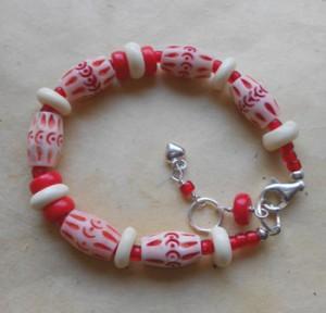 Red Coral and Carved Bone Bracelet