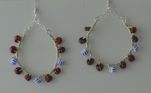 Trade bead hoop earrings
