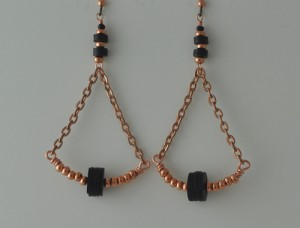 Trapezoid copper and recycled vinyl earrings